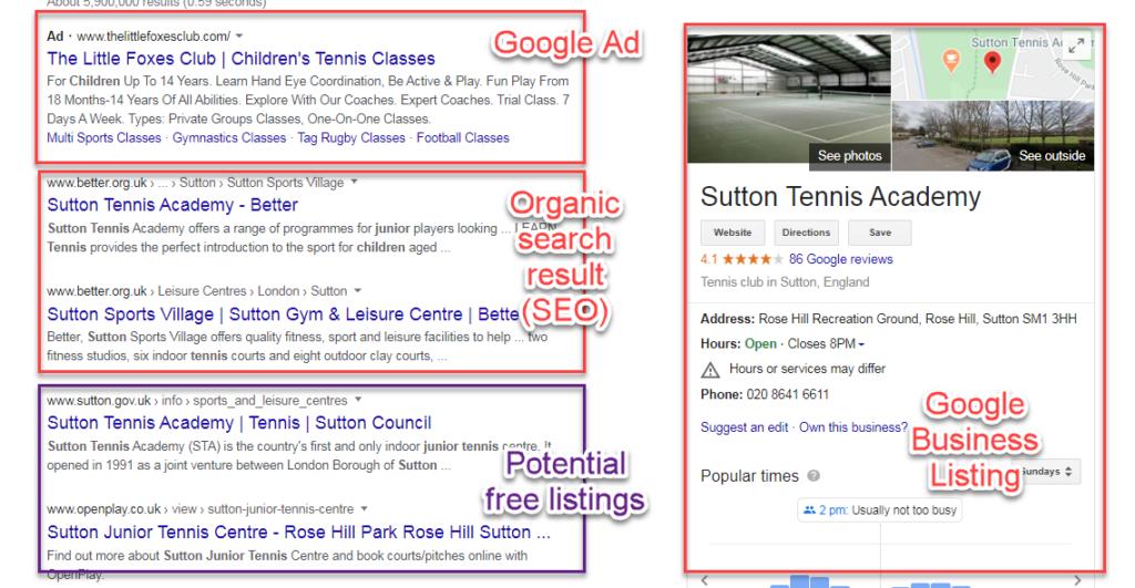 tennis free listings